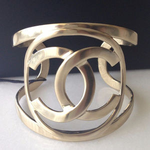 Chanel CC Logo Cuff/Bangle/Bracelet, light gold.